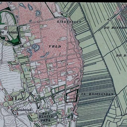 Kaart van het Lageveld uit 1901. Bovenaan staat Kiekenbelt, dat is aan de Vriezenveenseweg afslag Boomsweg met de Bekkenhaarsweg.