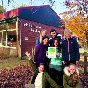 Groep 7/8 basisschool 'n Baoken winnaar actie Kinderpostzegels 2019