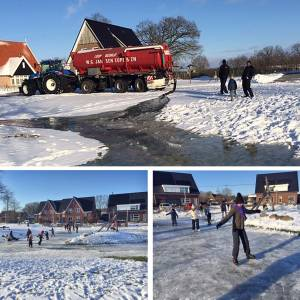 Hoge Hexel geniet van ijspret op geïmproviseerd schaatsbaantje