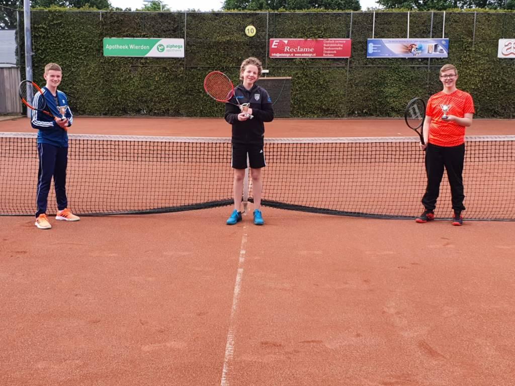 Kampioenen Pello Schildwacht, Jurre Hoogeveen en Jelte van de Noort, keurig op anderhalve meter afstand.